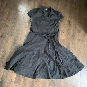"""LOFT"" Black Cotton Wrap Dress.  Size 16"